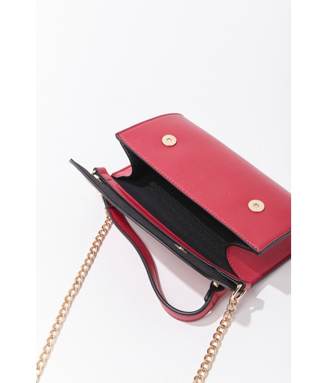 Genti Femei Forever21 Curb Chain-Accent Crossbody Bag MAGENTA