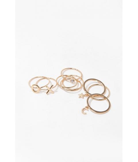 Bijuterii Femei Forever21 Star Moon Ring Set GOLD