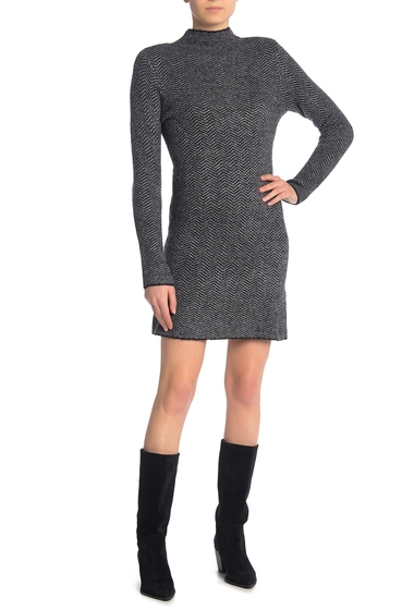 Imbracaminte Femei Max Studio Chevron Mock Neck Sweater Dress BLACKCHARCOAL