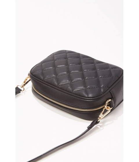 Genti Femei Forever21 Quilted Faux Leather Crossbody Bag BLACK