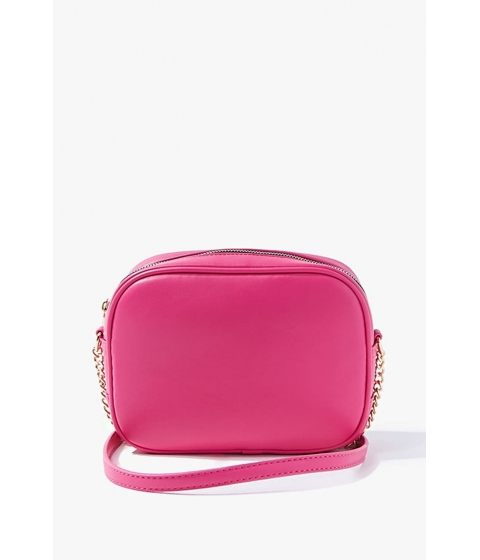 Genti Femei Forever21 Faux Leather Crossbody Bag HOT PINK