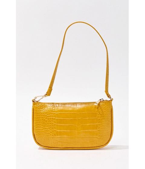 Genti Femei Forever21 Faux Croc Shoulder Bag MUSTARD