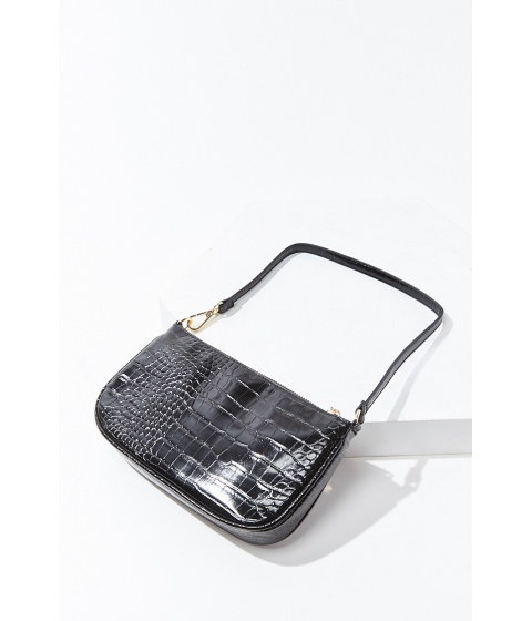Genti Femei Forever21 Faux Croc Shoulder Bag BLACK
