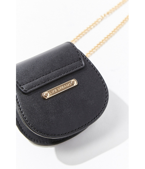 Genti Femei Forever21 Mini Curb Chain Crossbody Bag BLACK
