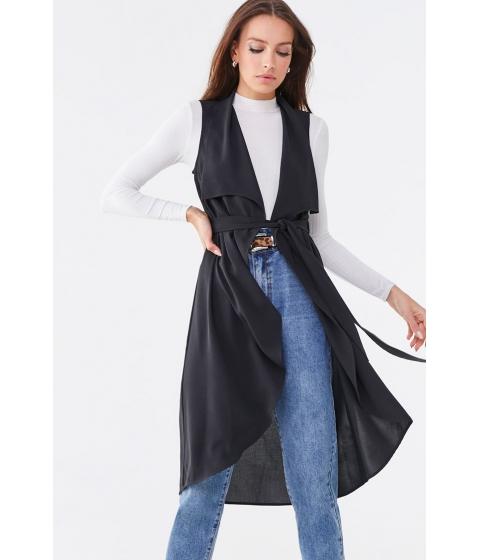 Imbracaminte Femei Forever21 Draped Lapel Longline Vest BLACK
