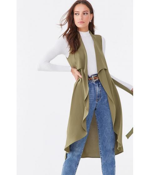 Imbracaminte Femei Forever21 Draped Lapel Longline Vest OLIVE