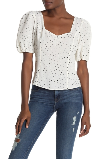 Imbracaminte Femei Free Press Short Sleeve Floral Print Cinhed Top IVORY- BLACK PRINTED DOT