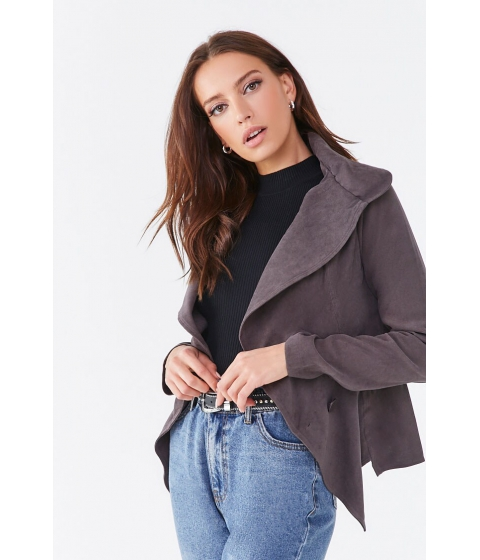 Imbracaminte Femei Forever21 Seamed Double-Breasted Jacket CHARCOAL