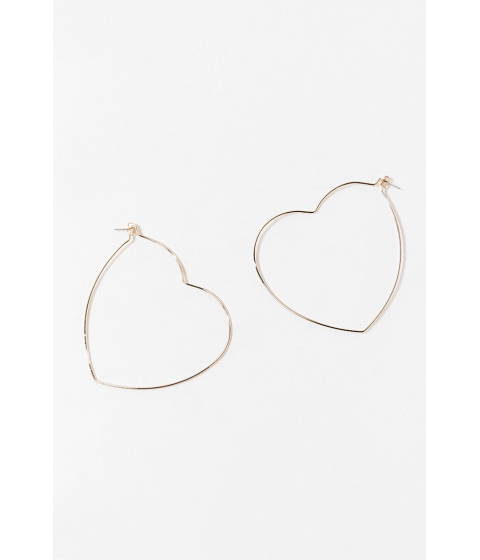 Bijuterii Femei Forever21 Heart Cutout Hoop Earrings GOLD