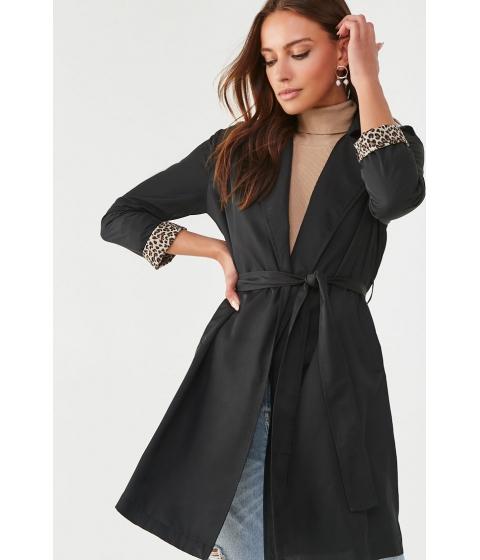 Imbracaminte Femei Forever21 Leopard-Cuff Wrap Jacket BLACK
