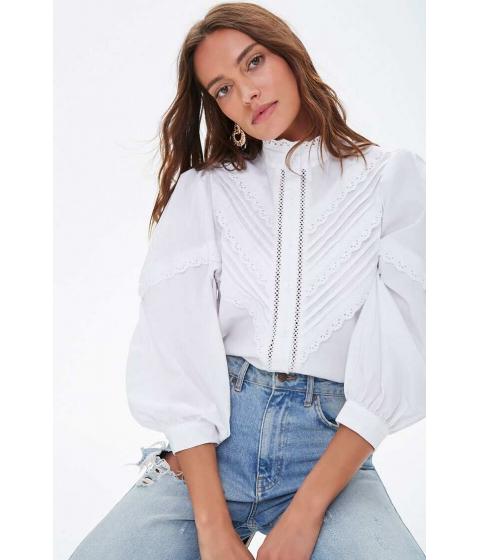 Imbracaminte Femei Forever21 Crochet Pintucked Shirt WHITE