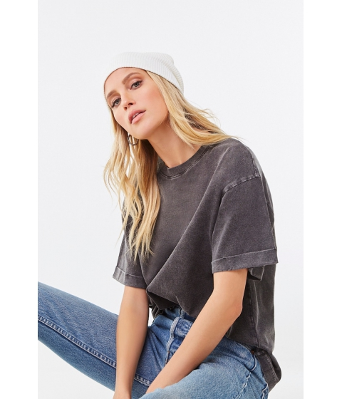 Imbracaminte Femei Forever21 Rolled Short Sleeve Tee CHARCOAL