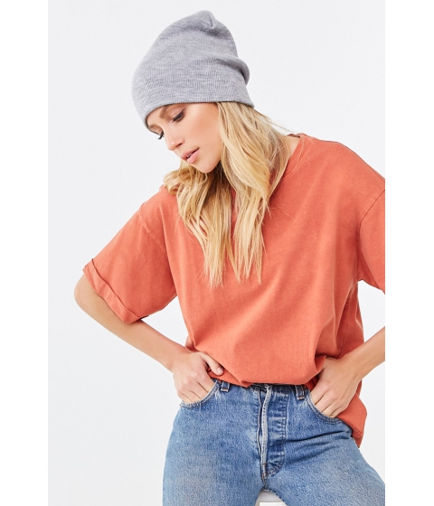 Imbracaminte Femei Forever21 Rolled Short Sleeve Tee TOMATO