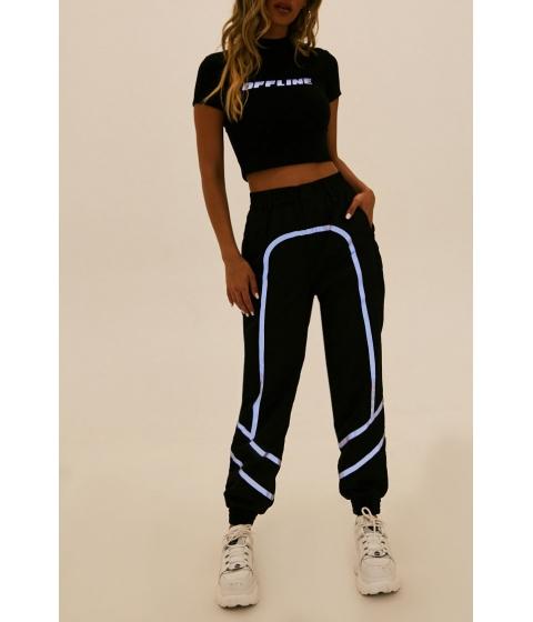 Imbracaminte Femei Forever21 Reflective-Trim Wind Pants BLACK