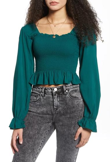 Imbracaminte Femei BP Smocked Peplum Crop Top GREEN EVERGREEN