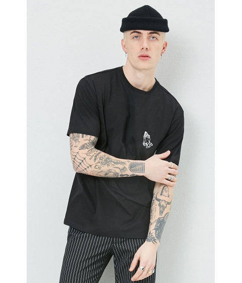 Imbracaminte Barbati Forever21 Embroidered Praying Hands Graphic Tee BLACKWHITE