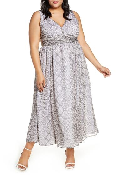 Imbracaminte Femei Leith Ruched Waist Chiffon Maxi Dress GREY MARBLE SNAKESKIN