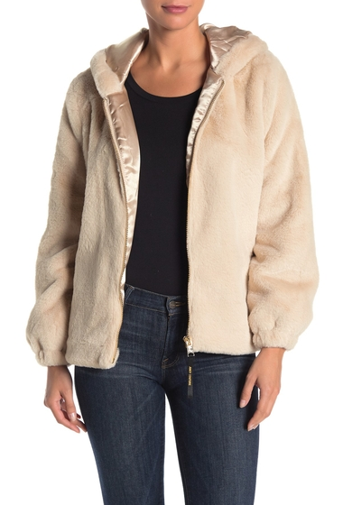 Imbracaminte Femei Juicy Couture Faux Fur Hooded Zip Front Jacket KHAKI