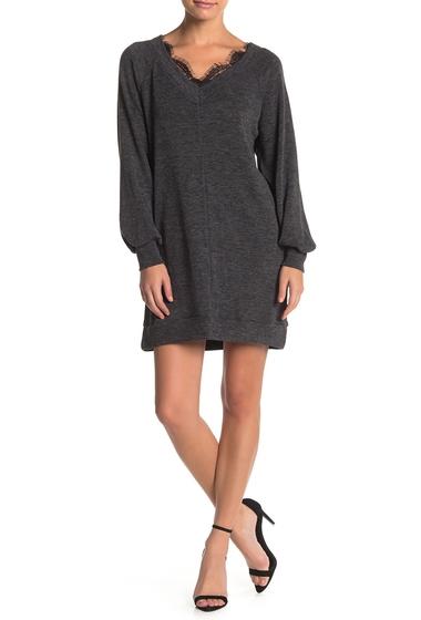 Imbracaminte Femei Socialite V-Neck Lace Front Sweater Dress CHARCOAL