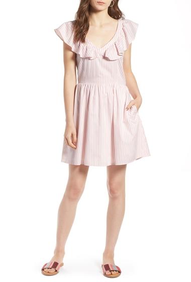 Imbracaminte Femei Treasure Bond Ruffle Dress PINK SILVER VERTICAL STRIPE