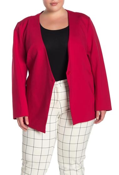Imbracaminte Femei Amanda Chelsea One Button Ponte Knit Blazer Plus Size RED