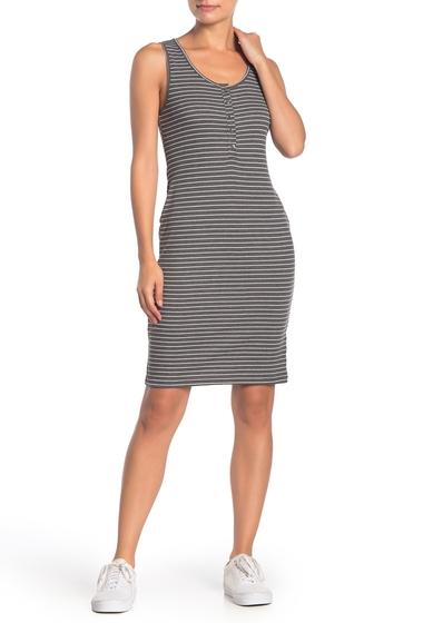 Imbracaminte Femei SUSINA Striped Sleeveless Rib Knit Henley Dress Regular Petite GREY CLOUDY HEATHER STRIPE