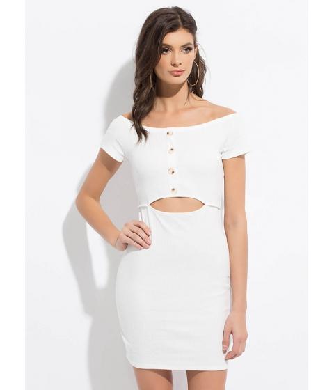 Imbracaminte Femei CheapChic Cute Cut-out Button-front Minidress White
