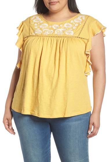 Imbracaminte Femei Caslon Flutter Sleeve Embroidered Top YELLOW O- IVORY C EMB