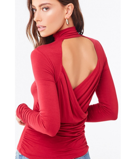 Imbracaminte Femei Forever21 Mock Neck Back Cutout Top RED
