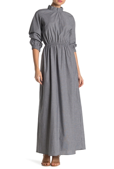 Imbracaminte Femei Go Couture Striped Mock Neck Maxi Dress BLACK