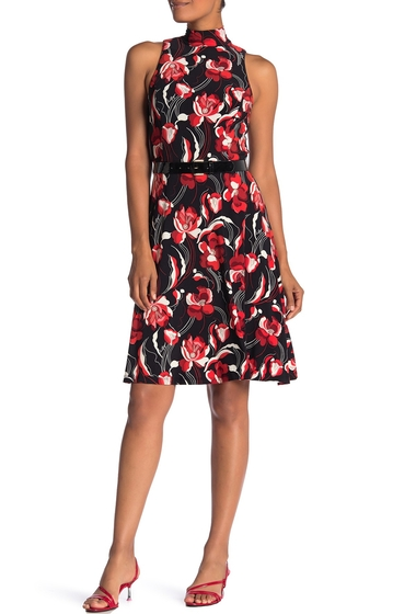 Imbracaminte Femei Tommy Hilfiger Floral Mock Neck Belted Fit Flare Dress BLK CHERRY