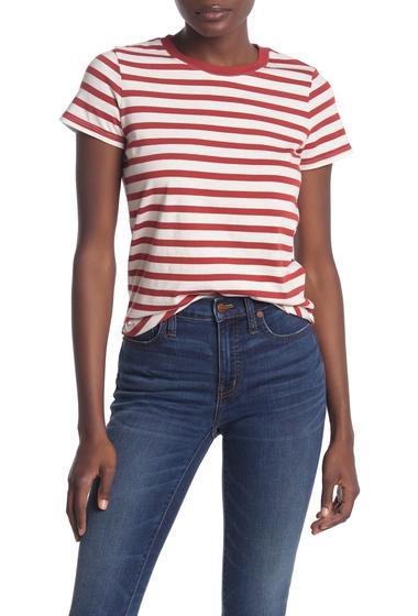 Imbracaminte Femei Madewell Vintage Striped Crew T-Shirt Regular Petite DARK CINNABAR DOVE S