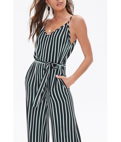 Imbracaminte Femei Forever21 Belted Striped Jumpsuit BLACKGREEN