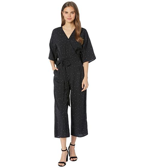 Imbracaminte Femei kensie Celestial Stars Kimono Sleeve Tie Front Jumpsuit KS6K8422 Black Combo