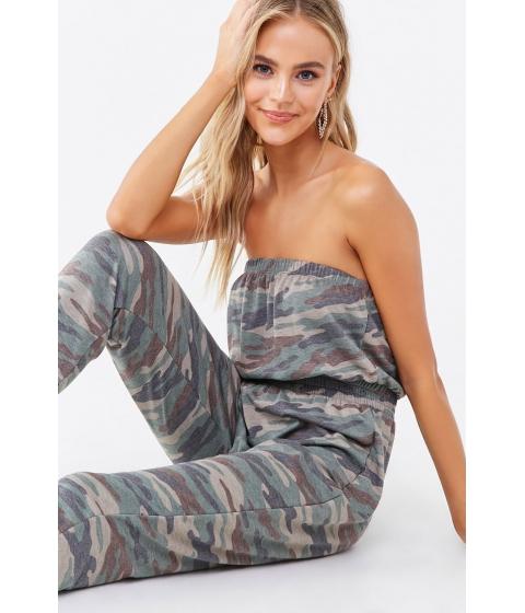 Imbracaminte Femei Forever21 Strapless Camo Print Jumpsuit OLIVEMULTI