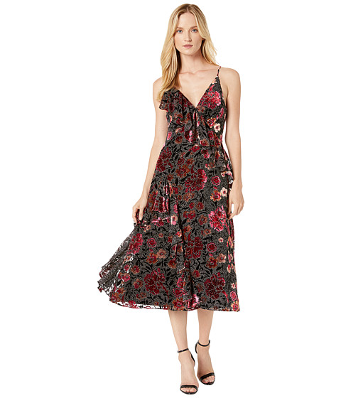 Imbracaminte Femei Jill Jill Stuart Printed Velvet Long Dress BlackFuchsia