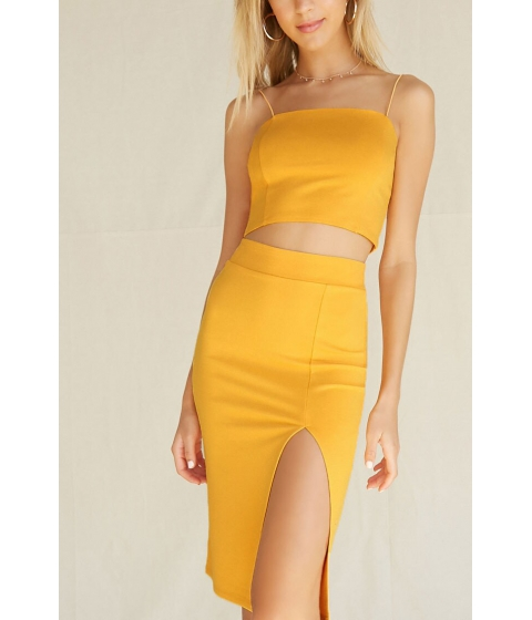 Imbracaminte Femei Forever21 High-Slit Seamed Bodycon Skirt GOLD