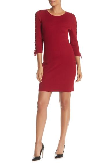 Imbracaminte Femei Nina Leonard Lace-Up Sleeve Rib Knit Sweater Dress DEEP RED