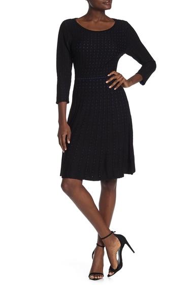 Imbracaminte Femei Nina Leonard Dot Pattern 34 Sleeve Sweater Dress BLACKCML