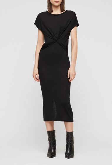Imbracaminte Femei ALLSAINTS Paloma Front Twist Midi Dress BLACK
