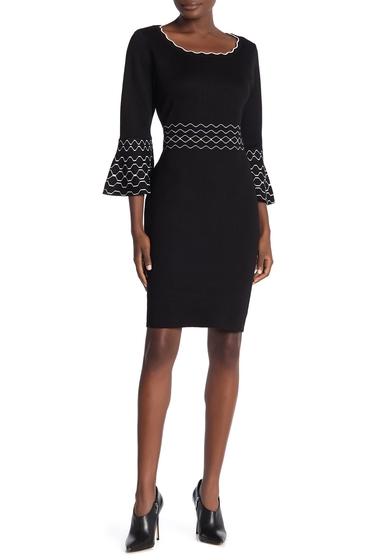 Imbracaminte Femei Nina Leonard Scalloped Jewel Neck Bell Sleeve Knit Dress BLKWHT
