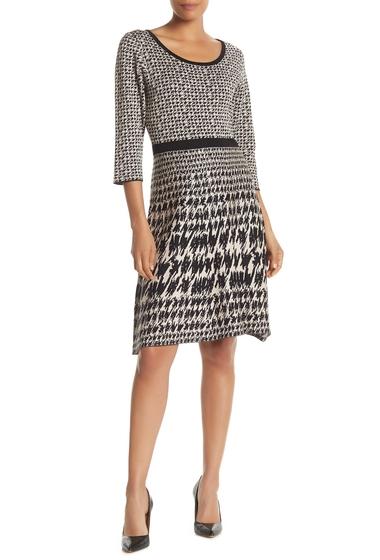 Imbracaminte Femei Nina Leonard Houndstooth Fit Flare Sweater Dress BLACKTAN