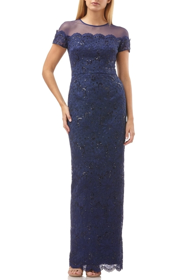 Imbracaminte Femei JS Collections Sequin Lace Gown NAVY