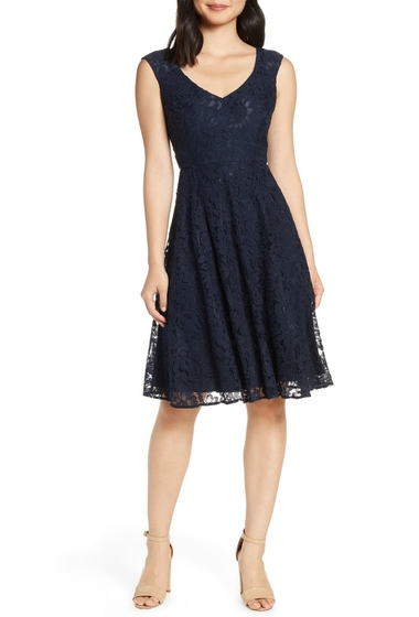 Imbracaminte Femei Eliza J Lace Fit Flare Dress NAVY