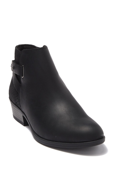 Incaltaminte Femei Clarks Addiy Gladys Snake-Embossed Leather Ankle Boot BLACK LEAT