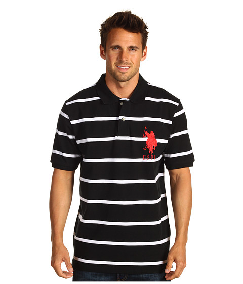 Imbracaminte Barbati US Polo Assn 2 Color Narrow Stripe Polo Black White