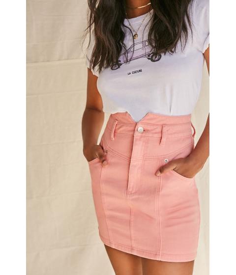 Imbracaminte Femei Forever21 Notched Denim Mini Skirt CORAL