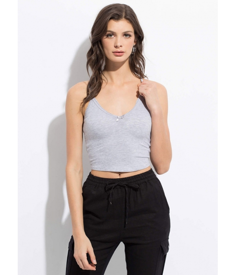 Imbracaminte Femei CheapChic How Sweet Cropped Bow-front Tank Top Hgrey