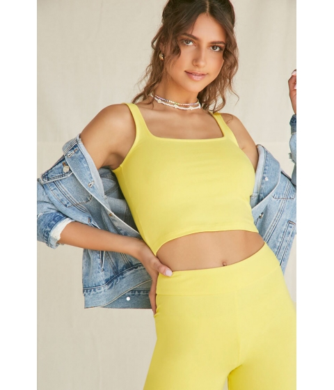 Imbracaminte Femei Forever21 Cotton-Blend Cropped Tank Top YELLOW