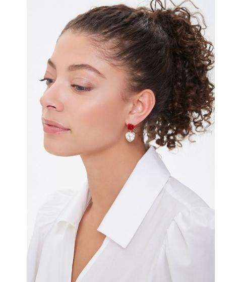 Bijuterii Femei Forever21 Rose Heart Charm Drop Earrings GOLDCLEAR